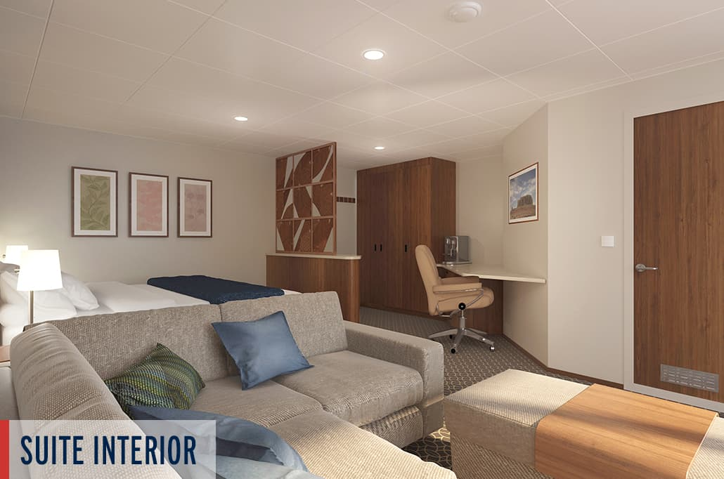 Coral Geographer Suite Interior Render